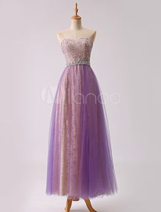 cb21db9ebeb Long Sweetheart Tulle Prom Dress With Beading Bodice