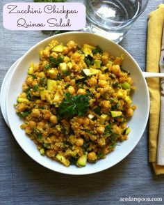 Zucchini Chickpea Quinoa Salad : a healthy, hearty salad that is a great way to use up garden zucchini // A Cedar Spoon