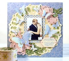 Garden butterflies scrapbook layout page by Anna Griffin. Make It Now with the Cricut Explore machine in Cricut Design Space.