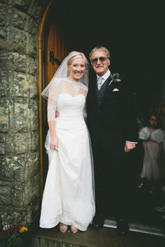 Our Real Bride with her Father showing real love and care for Fathers Day. Real Bride Kate wearing Sanyukta Shrestha's Alice Wedding Dress from the Wallis in Love collecction. A simple Silk Strapless Wedding Gown.