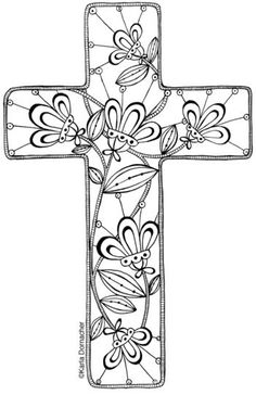 Floral cross to print and colour, then use as you want....bookmark, attach to a card etc
