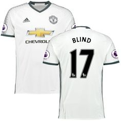 Daley Blind Manchester United adidas 2016/17 Third Replica Jersey - White