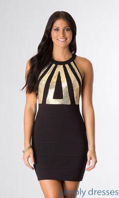 Dress, Short High Neck Open Back Dress - Simply Dresses