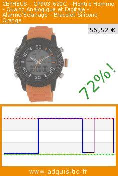 CEPHEUS - CP903-620C - Montre Homme - Quartz Analogique et Digitale - Alarme/Eclairage - Bracelet Silicone Orange (Montre). Réduction de 72%! Prix actuel 56,52 €, l'ancien prix était de 199,00 €. http://www.adquisitio.fr/cepheus/cp903-620c-montre-homme