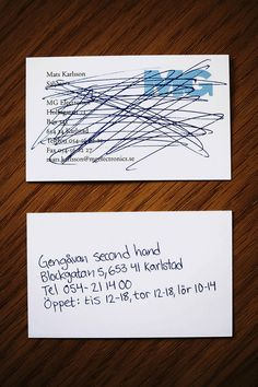 A Swedish secondhand shop . Nothing cheaper, or better. Creative business card designs.
