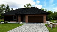 Z282 - Gotowy projekt domu parterowego we współczesnym stylu do 140 m2 Garage Doors, Outdoor Decor, Home Decor, Houses, Facades, Projects, Interior Design, Home Interiors, Decoration Home
