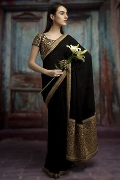 Buy online Sarees - Black color designer georgette embroidery saree in india from Bollywood Kart Sari Design, Design Net, Indian Attire, Indian Wear, Indian Dresses, Indian Outfits, Indian Wedding Outfits, Indian Clothes, Clothes
