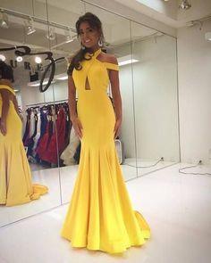 Gorgeous Halter Yellow Mermaid Long Prom Dress