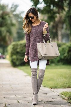 Street Chic Style With Light Grey Heeled Over The Knee Boots