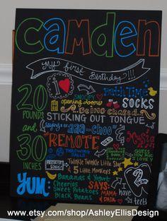 Custom 16 x 20 HandPainted Birthday Board by AshleyEllisDesign