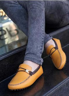 Yellow double rope buckle leather slip on shoe loafer Mens Slip On Loafers, Mens Slip On Shoes, Leather Slip On Shoes, Shoe Shop, Loafer Shoes, Shoes Online, Oxford Shoes, Dress Shoes, Yellow