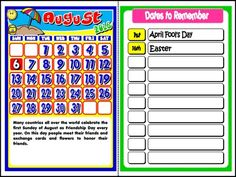 This mini pack contains: - 1 set of Calendars to display in the classroom, with reference to important holidays and celebrations + blank spaces to write other important dates, such as students. 2016 Calendar, Important Dates, Dating, Student, School, Book, Day, Qoutes, Books