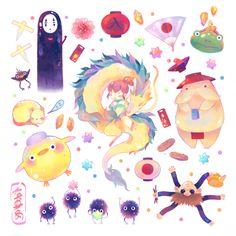 Haku and Chihiro - Spirited Away - Studio Ghibli / Hayao Miyazaki - Stickers (Pre-Order) by Naomame Chibi Manga, Dibujos Anime Chibi, Totoro, Studio Ghibli Art, Studio Ghibli Movies, Studio Ghibli Tattoo, Kawaii Doodles, Kawaii Art, Hayao Miyazaki