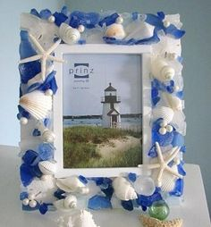 Shell Frame - Beach House Decor w Blue Sea Glass, Starfish, Shells, Pearls -  5x7 by beachgrasscottage for $85.00