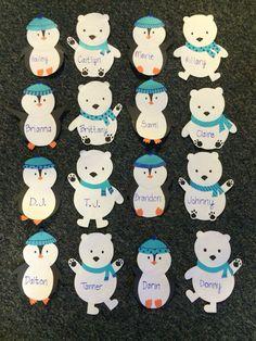 Polar bear & penguin winter door decs