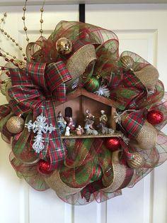 Nativity burlap and deco mesh Christmas wreath