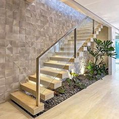 Photos and Videos Modern Stairs Photos vídeos Staircase Design Modern, Stair Railing Design, Home Stairs Design, Interior Stairs, Home Room Design, Dream Home Design, House Front Design, Small House Design, Modern House Design