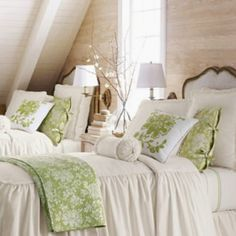 Love the green & white. I have the white comforter & pillow shams that are white w/green embroidered design on them.