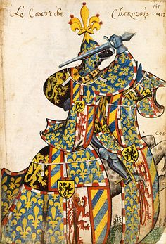 Ancien Armorial équestre de la Toison d'Or. Around 1435. Compilation of equestrian portraits from european nobility and knights, in full heraldic outfits. http://expositions.bnf.fr/livres/armorial/index.htm