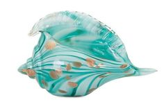 This lovely large artisan created Kingston Turquoise Glass Conch Shell sculpture features turquoise and aqua shades of swirling glass with splashes of shimmering gold.