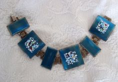 Modernist Enamel on Copper Bracelet Turquoise Blue by Vanityfare, $29.00