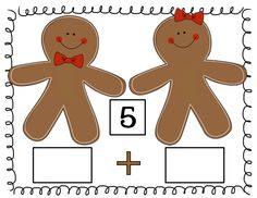 Gingerbread people math mats for composing and decomposing numbers from 3 to 10.  Spill out buttons or other counters onto the mats and write an equation to go with it.  FREE