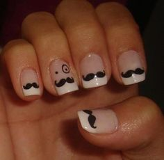 Elegant mustach french manicure themed nail art design with a gentleman twist Purple Nail Designs, Cute Nail Designs, Manicure, Gel Nails, Cute Nails, Pretty Nails, Mustache Nails, Cool Mustaches, French Tip Nails