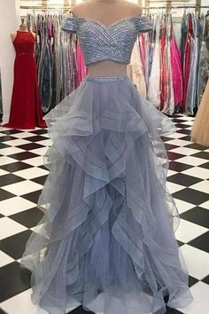 Sexy Off-the-Shoulder Tulle Floor-Length Sequined Prom Dresses,PL5147 on Luulla