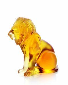 """Lalique Amber """"Bamara"""" Lion Figurine"""