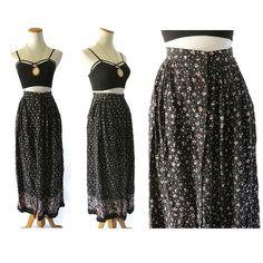 Floral Maxi Skirt Maxi Skirt Floral Pocket Skirt High Waisted Skirt Black Floral Button Up Skirt Prairie Hippie Boho Festival Skirt 90s by GoodLuxeVintage on Etsy