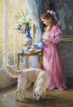 "dipot: ""Konstantin Razumov (born 1974): Tea Time Oil on canvas, 21¾"" x 15"" """
