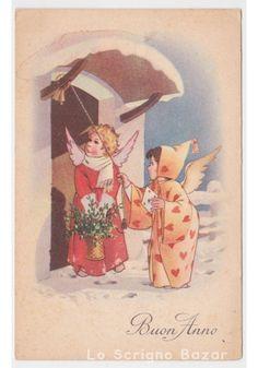Non Viaggiata cartolina d'epoca TEL 811 fp Anno Nuovo angeli campana vischio