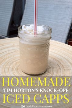 Homemade Iced Capps - Tim Hortons' Copycat Recipe A fabulous, easy-to-make, copycat Tim Hortons' Iced Capps knock off recipe! Cold, refreshing, and delicious! Plus it's a lot cheaper to make than the original version! Crockpot, Instant Pot, Canadian Food, Canadian Recipes, Non Alcoholic Drinks, Beverages, Cookies Et Biscuits, Summer Drinks, Summer Drink Recipes