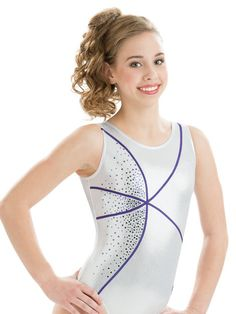 Classic scoop back girl's gymnastics leotard in silver mystique comes with a creative imperial purple sparkle hologram zig zag trim accent. A beautiful display of purple sequinz™ adds a glamorous touc