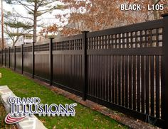 BLACK VINYL FENCE - Semi-Privacy Fence with Old English Lattice shown in the Grand Illusions Color Spectrum Black Custom designed to match a White Victorian Home with black trim. Use Mix 'n' Match to match your fence color with your home accents. Backyard Fences, Backyard Landscaping, Backyard Ideas, Vinyl Fence Panels, Vinyl Fence Colors, Vinyl Lattice Panels, White Vinyl Fence, Vinyl Fencing, Black Fence