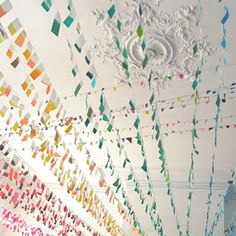 Such a cute idea for a party/kids space/fun time. Excessive amounts of garlands!
