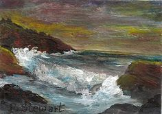 """""""ACEO Magnet Seascape Rocks and Waves"""" - Original Fine Art for Sale - © Penny Stewart SOLD http://www.craftylady.com"""