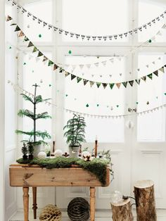 Garlands and paper decorations
