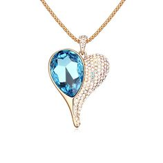 New Pendant Necklaces of women Austria crystal sweater chain--Heart light fairy tale