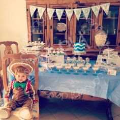 Blue chevron first birthday party /gingerbread cookie costume