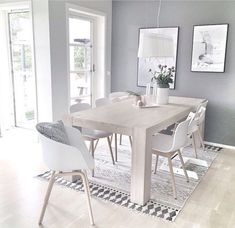 Dining room goals love the House Doctor block rug available online Dining Room Shelves, Kitchen Dinning Room, Dining Room Design, Dining Room Table, Scandinavian Interior, Home Interior, Interior Decorating, Interior Design, Room Goals
