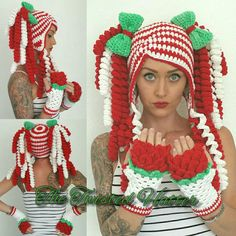 Crochet Christmas pigtail hat