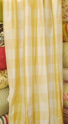 Image result for YELLOW IVORY PLAID CURTAINS