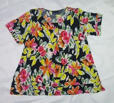 Susan Graver 3X Liquid Knit Top Floral Short Sleeve Black Yellow Pink Scoop Neck | Clothing, Shoes & Accessories, Women's Clothing, Tops & Blouses | eBay!