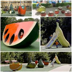 #‎Kids‬ ‪#‎Playground‬ Dream | The Fruit and Scent Playground at SWEDEN, what a fun playground in the world to promote healthy eating and fruit to kids. A giant watermelon, banana slide, strawberry spinners, a pair of cherry swings, an orange see-saw and a ...