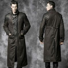 Metallic Dark Brown Leather Goth Military Style Trench Coat Overcoat Men SKU-11401490