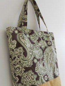 Free simple and quick tote bag. basic bag paisley