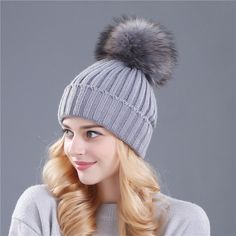 0b329b74bf8 Xthree mink and fox fur ball cap pom poms winter hat for women girl  s. Knitted  BeaniesKnit ...