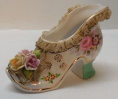 Porcelain High Heel Shoe with Lace Accents Applied Flowers Andrea NY Vintage Ceramic Shoes, Vintage High Heels, Shoe Boots, Shoes Heels, Glass Shoes, Glass Slipper, Porcelain Ceramics, Dressing Table, Kitsch