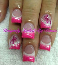 Pink with browning nails